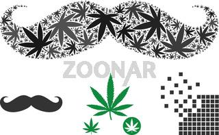 Gentleman Moustache Mosaic of Marijuana