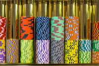 Roulette chips in casino