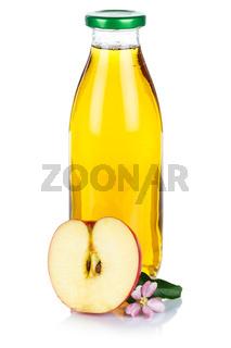 Apfelsaft Apfel Saft in der Flasche frisch Fruchtsaft Hochformat freigestellt isoliert