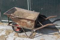 Old wheelbarrow with feed