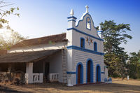 India. Goa. Small Catholic church in an ancient  fort