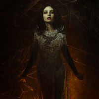 spider web vampire, demonic woman dressed in white lace and silver jewelry. has fangs and thick brown hair