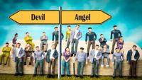 Street Sign to Angel versus Devil