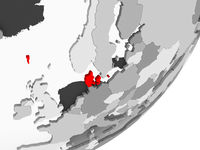 Denmark in red on grey map