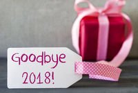 Pink Gift, Label, Text Goodbye 2018