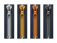 Set of different metallic fasteners, closed zippers on white