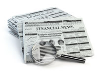 Financial news newspaper isolated on white background.