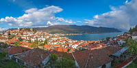 Panorama of hillside houses on the shore of Lake Ohrid