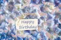 Sunny Hydrangea Flat Lay, Text Happy Birthday