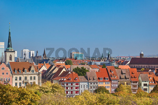 Urban skyline in downtown Erfurt with half-timbered houses in Thuringia