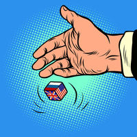 Policy choice USA Russia UK. hand throws dice
