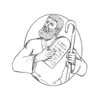 Moses With Ten Commandments Drawing Black and White