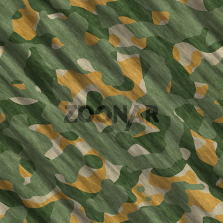 Camouflage pattern background seamless illustration. Classic clothing style masking camo repeat print. Green brown black olive colors forest texture