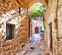 Traditional houses in Mesta of Chios, Greece