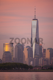 Dramatic Light Reflects off Buildings Manhattan NY One World Trade Center