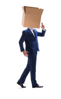 Businessman with blank box on his head