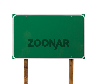 Blank Green Road Sign with Wooden Posts Isolated on a White Background