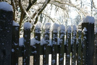Holzzaun mit Schnee, Wooden Fence with snow