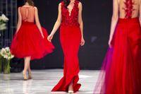 Fashion catwalk runway show models red dress