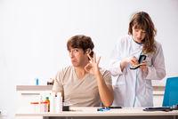 Patient with hearing problem visiting doctor otorhinolaryngologi