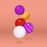 Multicolored vector decorative balls over coral background.