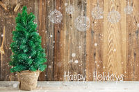 Wooden Background, Christmas Ornament, Calligraphy Happy Holidays, Snow