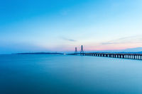 poyang lake second bridge in sunset
