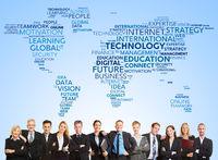 Business Team und internationale Technologie