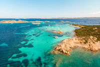 Drone aerial view of Razzoli, Santa Maria and Budelli islands in Maddalena Archipelago, Sardinia, Italy.