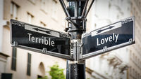 Street Sign to Lovely versus Terrible