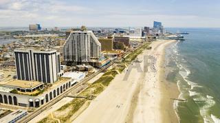Buildings Boardwalk and Skyline of Atlantic City New Jersey