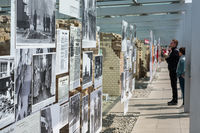 People at the Topography of Terror (German: Topographie des Terrors) outdoor   history museum in Berlin