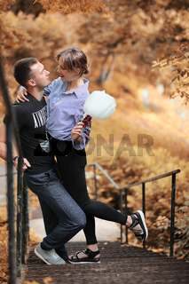 Beautiful young couple on a walk