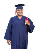Hispanic Male With Deploma Wearing Graduation Cap and Gown Isolated