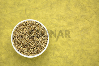 hemp seed in a ceramic bowl