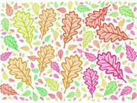 bright colorful cartoon style modern oak leaf repeating pattern design
