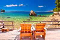 Relax deck chair by idyllic Adriatic beach