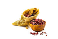 Dry Red Beans in a wooden bowl and in a sack