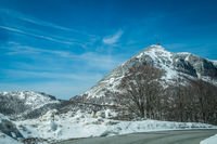 Mountain winter road through the Lovcen National Park