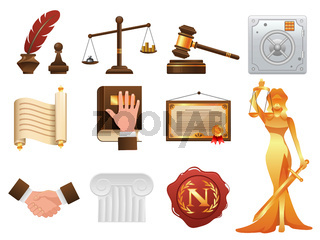 Law justice and order realistic icons set