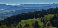 Blick vom Pfänder zum Bregenzerwald mit Damülser Mittagsspitze und Kanisfluh