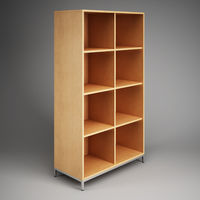 Comfortable wardrobe with shelves for the office. 3D rendering.