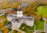 Capitol Building State House Augusta Maine Autumn Season Aerial