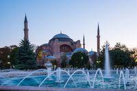 Sunrise with Hagia Sofia in Istanbul city, Turkey
