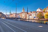 Zurich Limmat river waterfront and landmarks view