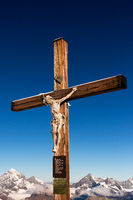 The summit cross on platform of the Little Matterhorn