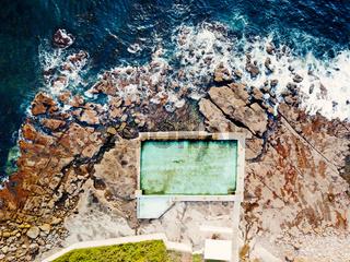 Aerial views of the Coalcliff Ocean pool, Australia