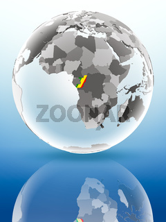 Congo on political globe