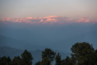 The Himalayas at sunset from Nagarkot in Nepal