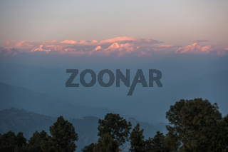 The Himalayas at sunset from Nagarkot in Nepal
